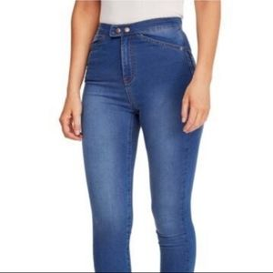 FREE PEOPLE Button Details High Waisted Jeans